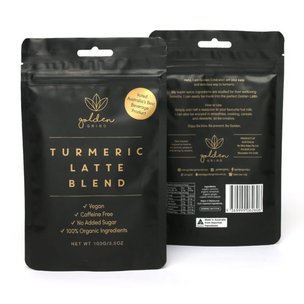 Golden grind Turmeric Latte Blend caffeine free latte 2 pack, buy online at Yo Life