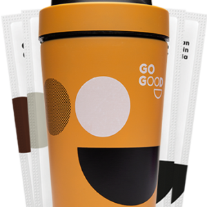 protein shaker bottle Go Good Pea protein sample pack and peach shaker buy online at Yo Life