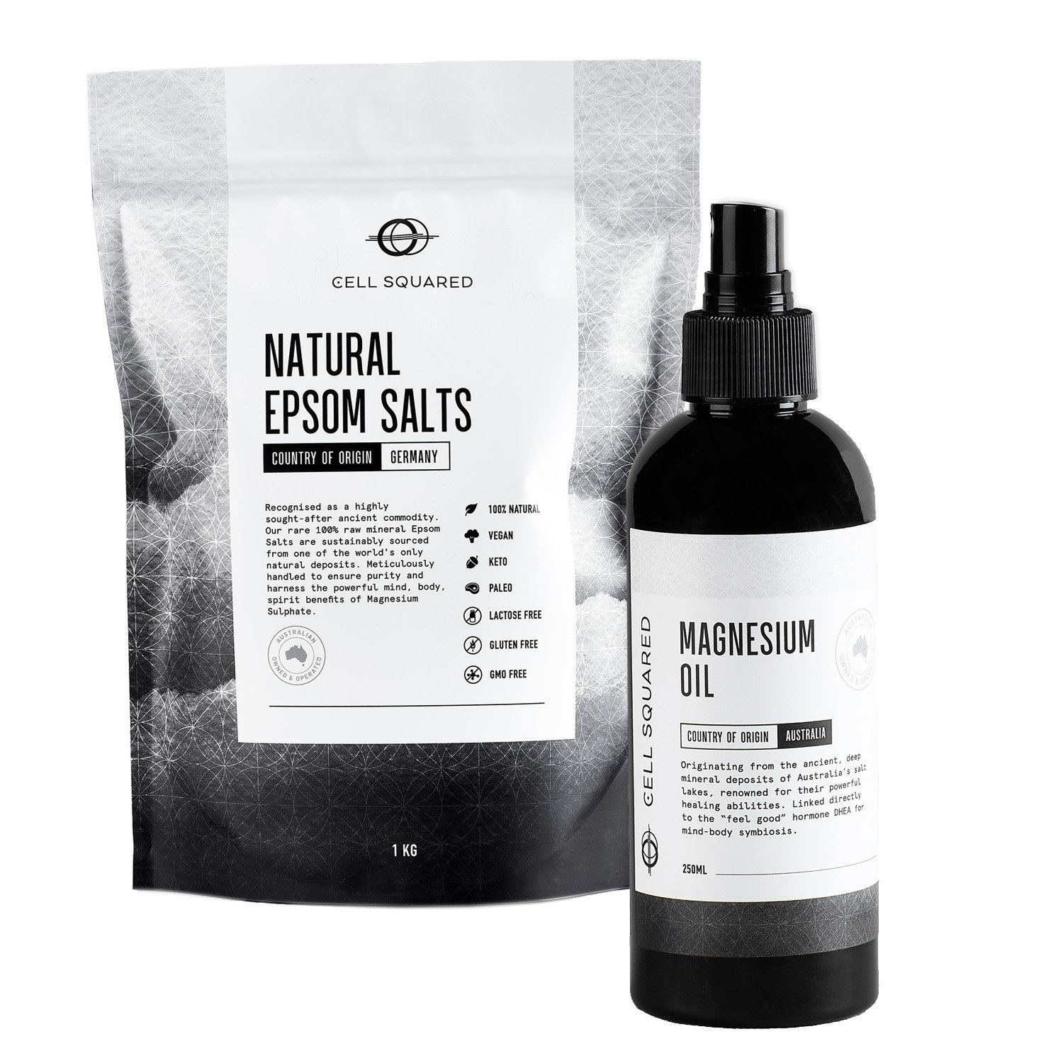 Cell squared epsom salts and magnesium oil replenish pack buy online at Yo Life