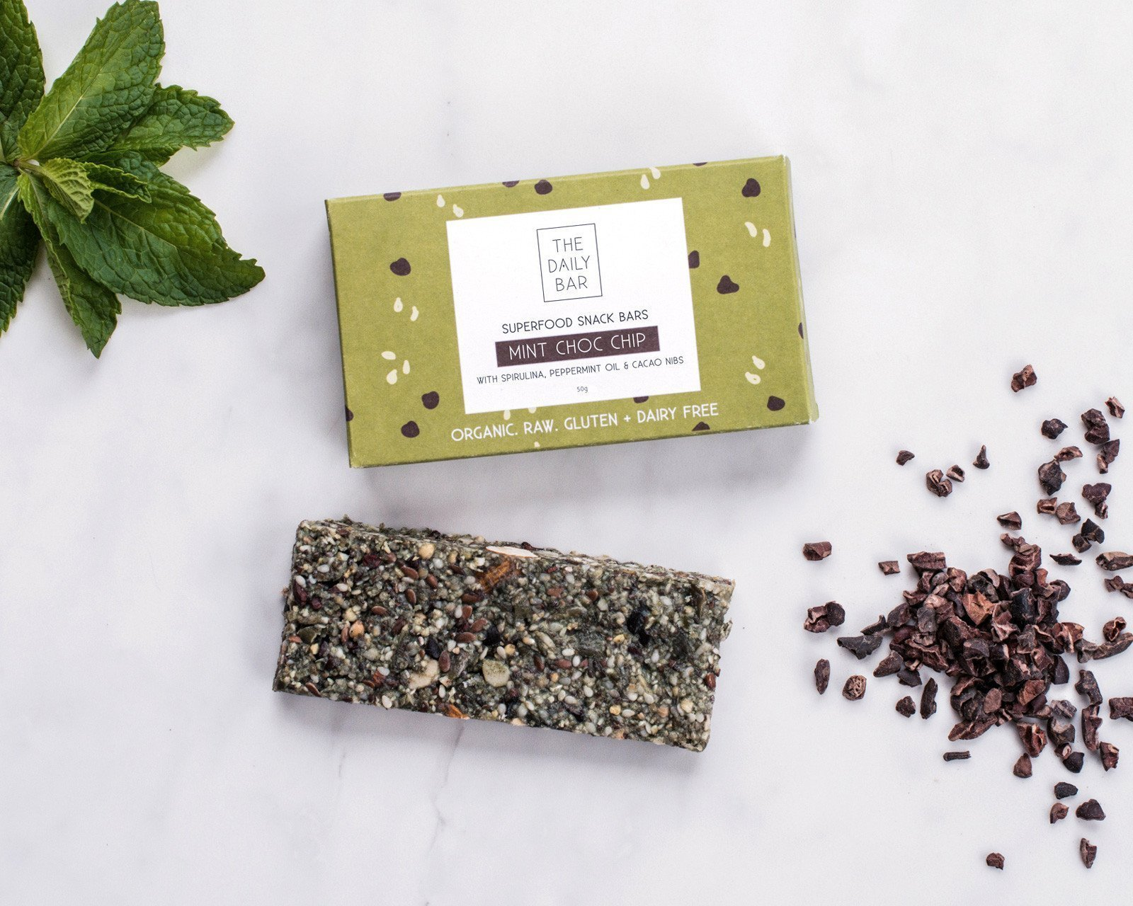 The Daily Bar mint choc chip gluten free healthy snack bar buy online at Yo Life 1