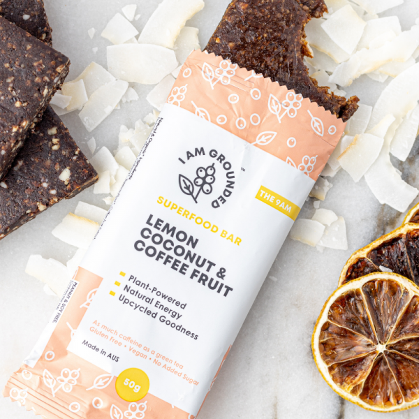 superfood bars I AM GROUNDED Lemon, Coconut &Coffee Fruit vegan healthy snack bars buy online at Yo Life