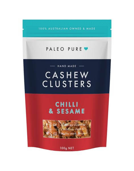 healthy savoury snacks Paleo Pure Cashew Clusters with chilli and sesame buy online at Yo Life