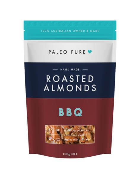 healthy savoury snacks Paleo Pure roasted almonds BBQ buy online at Yo Life