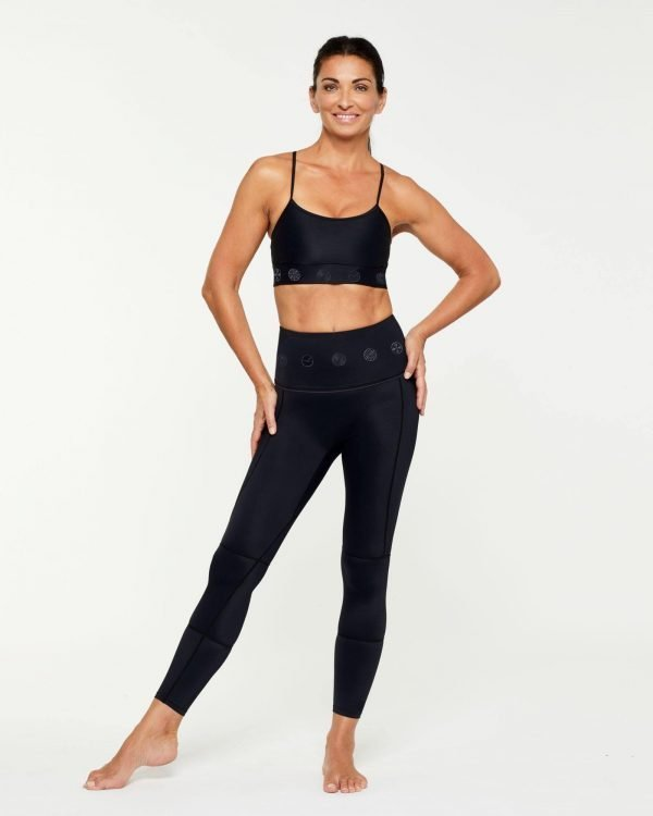Companion GRACILIS 7/8 LEGGING BLACK WITH BLACK SYMBOLS WORN WITH INFRASPINATUS ACTIVE TOP, CORE COLLECTION FRONT VIEW