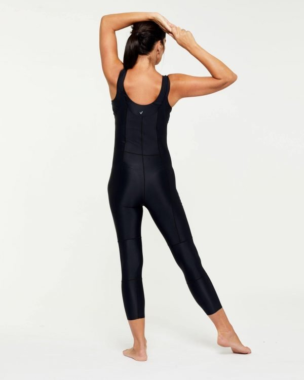 Companion TRANSVERSE full 7/8 BODYSUIT, Bonded worn low front, high back, back view