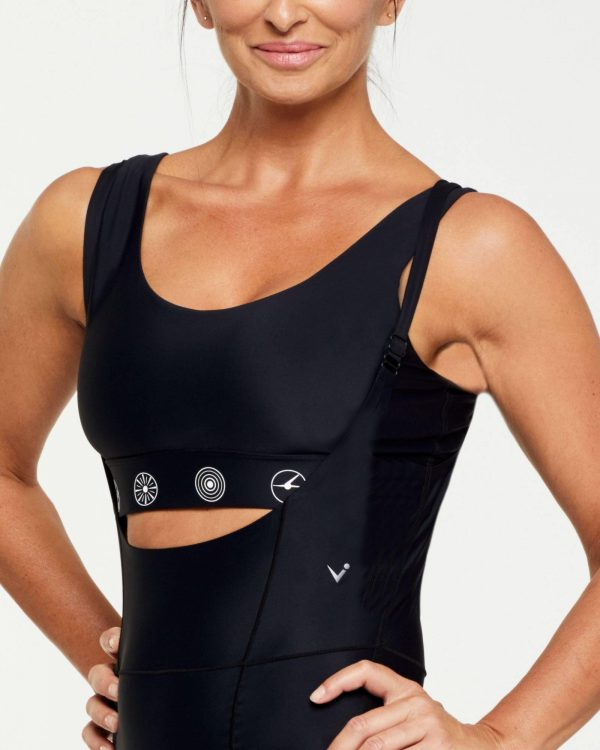 Companion PECTORALIS Bra TOP WITH SILICON PRINTED SYMBOLS, BLACK WITH WHITE ON UNDER BUST BAND, SIDE VIEW