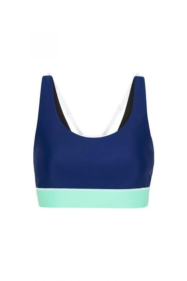 She of the Sea Pectoralis Blue bra top, front view, great for pilates, barre and in-studio workouts