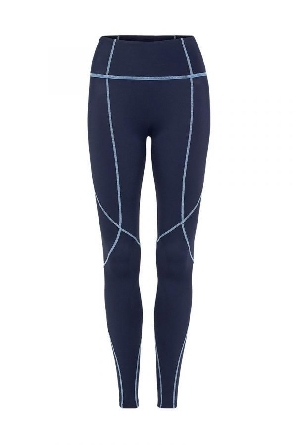 Femininely Vastus mid waist long Navy legging with contrast stitching, front view, for pilates, barre, yoga, gym and studio workouts