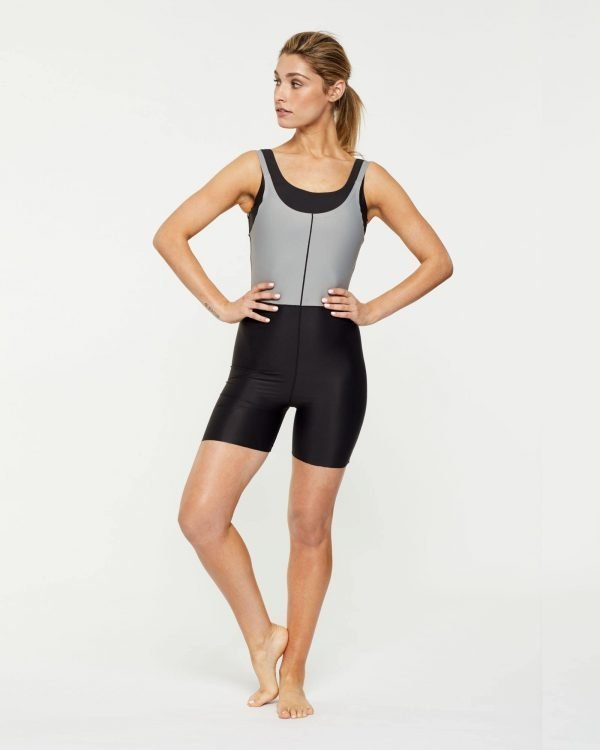 Steely RECTUS SHORT BODYSUIT,  worn high at front over Pectoralis active top with low back, front view