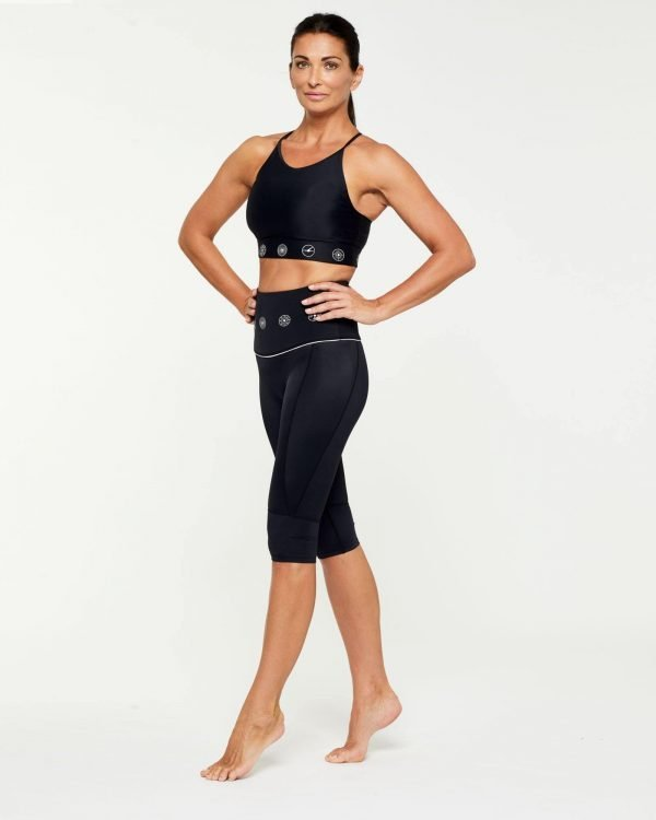 Companion Trapezius Halter Crop Top, Black and White worn with Sartorius pedal pusher short, side view