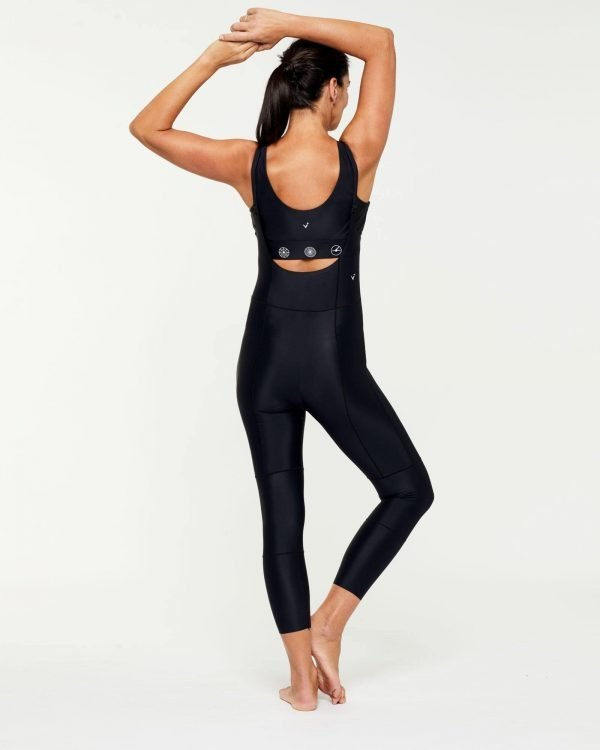 Companion TRANSVERSE full 7/8 BODYSUIT, Bonded worn high front low back with Pectoralis active top underneath, back view